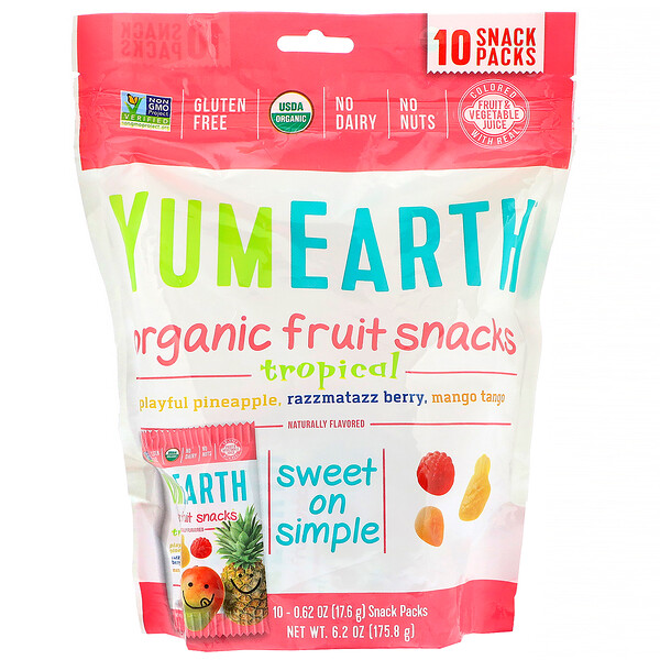 Organic Fruit Snacks, Tropical, 10 Packs, 0.62 oz (17.6 g) Each