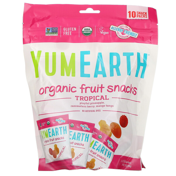 YumEarth, Organic Fruit Snacks, Tropical, 10 Packs, 0.62 oz (17.6 g) Each
