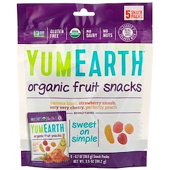 YumEarth, Snacks de fruits bio, 5 sachets, 19,8 g (0,7 oz) chacun