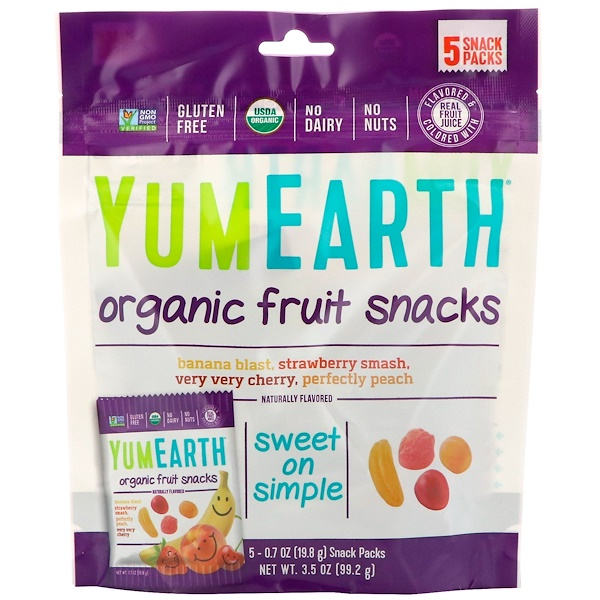 YumEarth, Organic Fruit Snacks, 5 Packs, 0.7 oz (19.8 g) Each