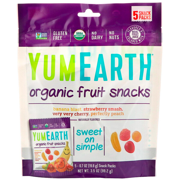 Organic Fruit Snacks, 5 Packs, 0.7 oz (19.8 g) Each