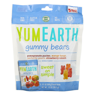 Купить YumEarth Жевательные мишки, вкусы в ассортименте, 5 упаковок снеков, вес каждой 19, 8 г (0, 7 унции)