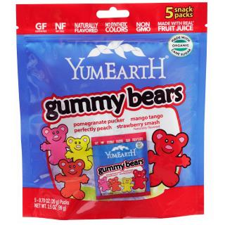 YumEarth, Gummy Bears, Assorted Flavors, 5 Snack Packs, 0.7 oz (20 g) Each