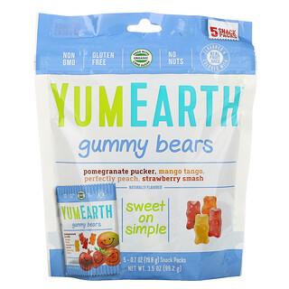 YumEarth, Gummy Bears, Assorted Flavors, 5 Snack Packs, 0.7 oz (19.8 g) Each