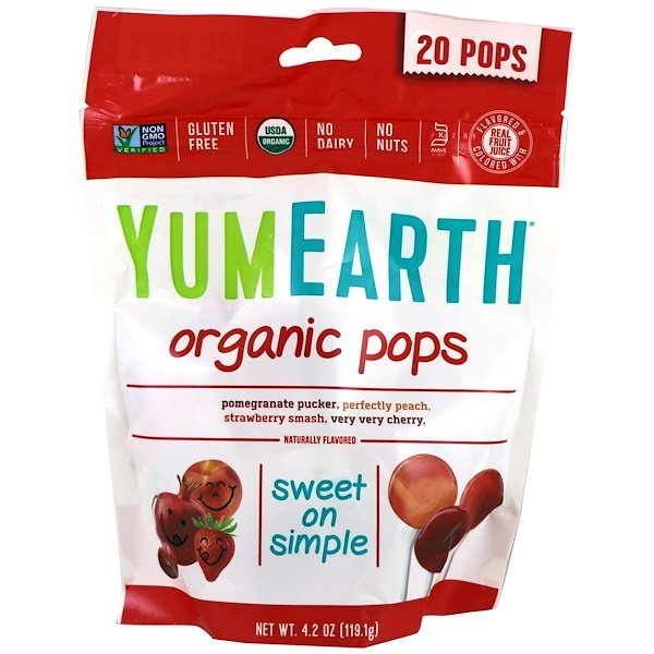 YumEarth, Organic Pops, Assorted Flavors, 20 Pops, 4.2 oz (119.1 g)