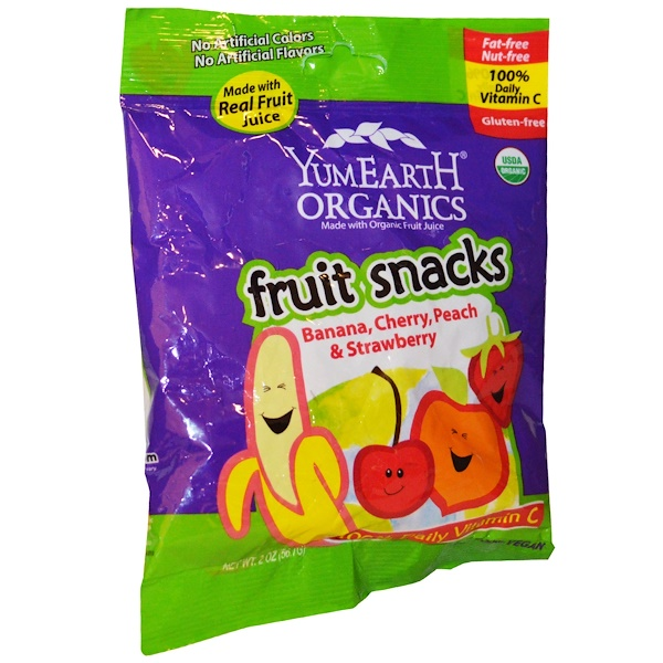 YumEarth, Fruit Snacks, Banana, Cherry, Peach & Strawberry, 12 Packs, 2 oz (56.7 g) Each (Discontinued Item)