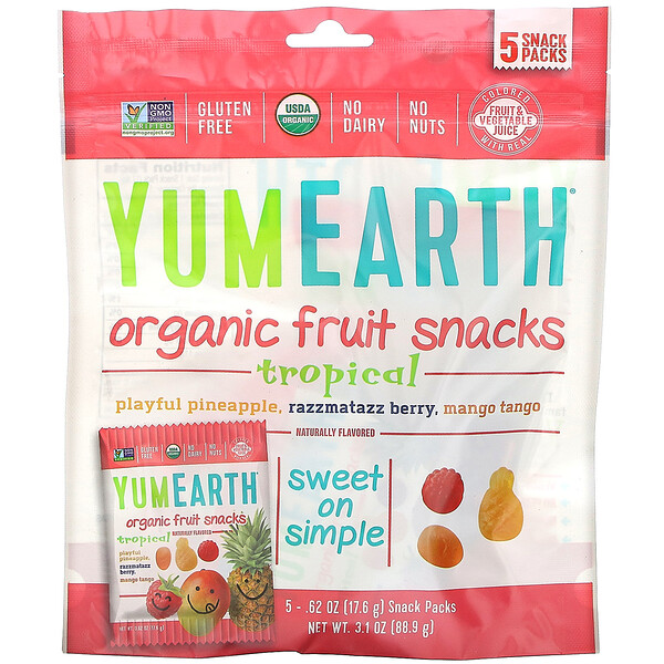 YumEarth, Organic Fruit Snacks, Tropical, 5 Packs, 0.62 oz (17.6 g) Each