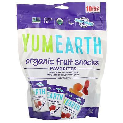 Купить YumEarth Фруктовые закуски органического происхождения, оригинальные, 10 пакетов, 19, 8 г (0, 7 унции) каждый