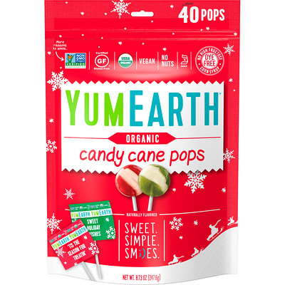 YumEarth Organic, Candy Cane Pops, Wild Peppermint, 40 Pops, 8.73 oz (247.6 g)