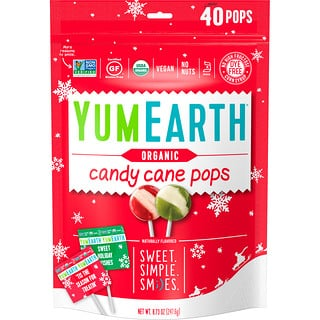 YumEarth, Organic, Candy Cane Pops, Wild Peppermint, 40 Pops, 8.73 oz (247.6 g)