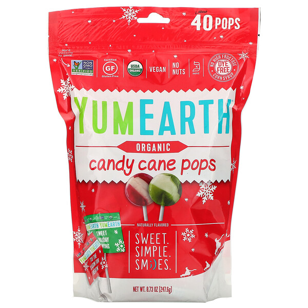 YumEarth, Organic, Candy Cane Pops, Wild Peppermint, 40 Pops, 8.73 oz (247.6 g) (Discontinued Item)