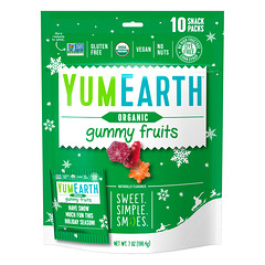YumEarth, Organic, Gummy Fruits, Perfectly Peach, Very Very Cherry, Strawberry Smash, 10 Snack Packs, 19.8 g Each