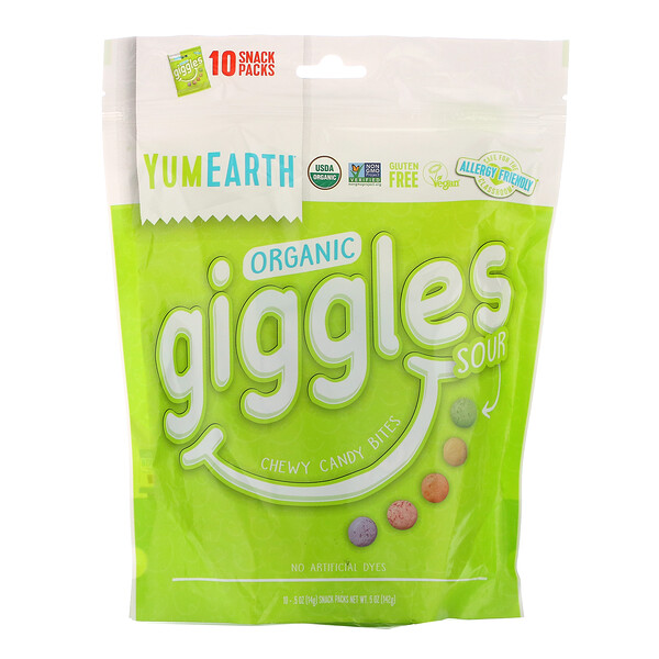Organic Giggles, Sour, 10 Snack Packs, .5 oz (14 g) Each