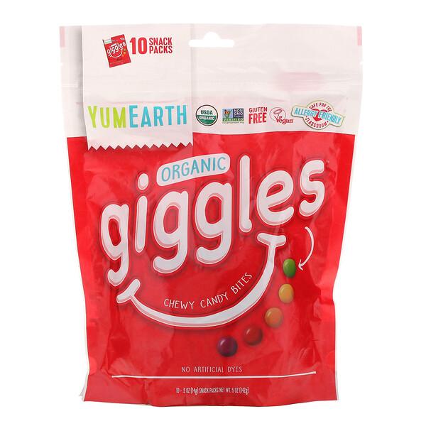 YumEarth, Organic Giggles, 10 Snack Packs, .5 oz (14 g) Each