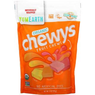 YumEarth, органические фруктовые жевательные конфеты, лимон, апельсин, клубника, вишня, 142г (5унций)