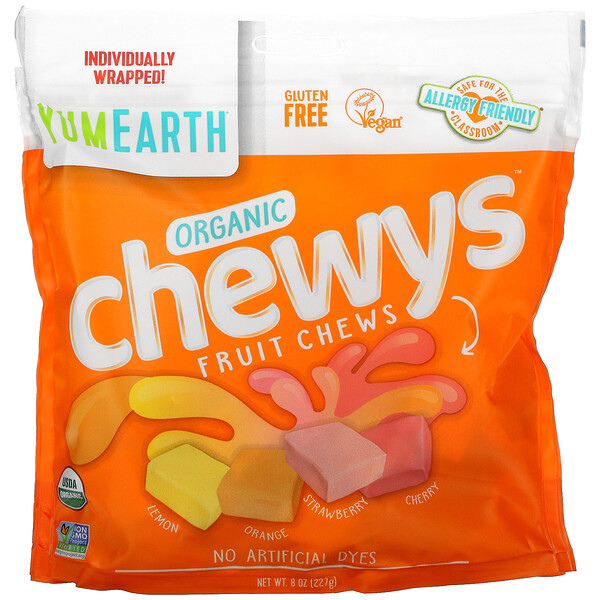 YumEarth, Organic Chewys, Lemon, Orange, Strawberry, Cherry, 8 oz (227 g)