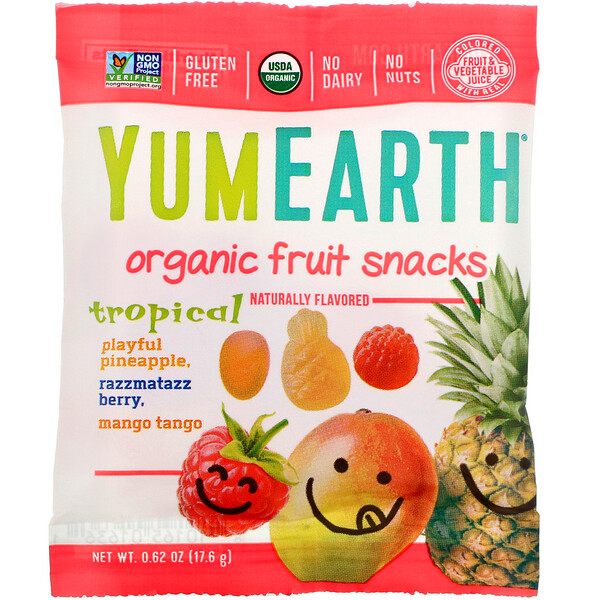 Organic Fruit Snacks, Tropical,  0.62 oz (17.6 g)