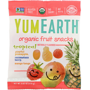 YumEarth, Organic Fruit Snacks, Tropical,  0.62 oz (17.6 g)'