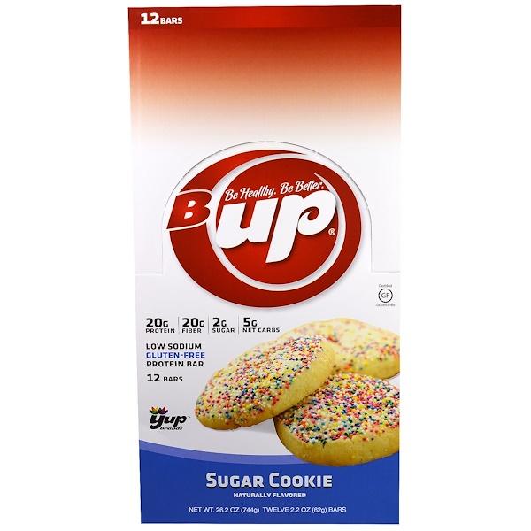 YUP, B Up Protein Bar, Sugar Cookie, 12 Bars, 2.2 oz (62 g) Each
