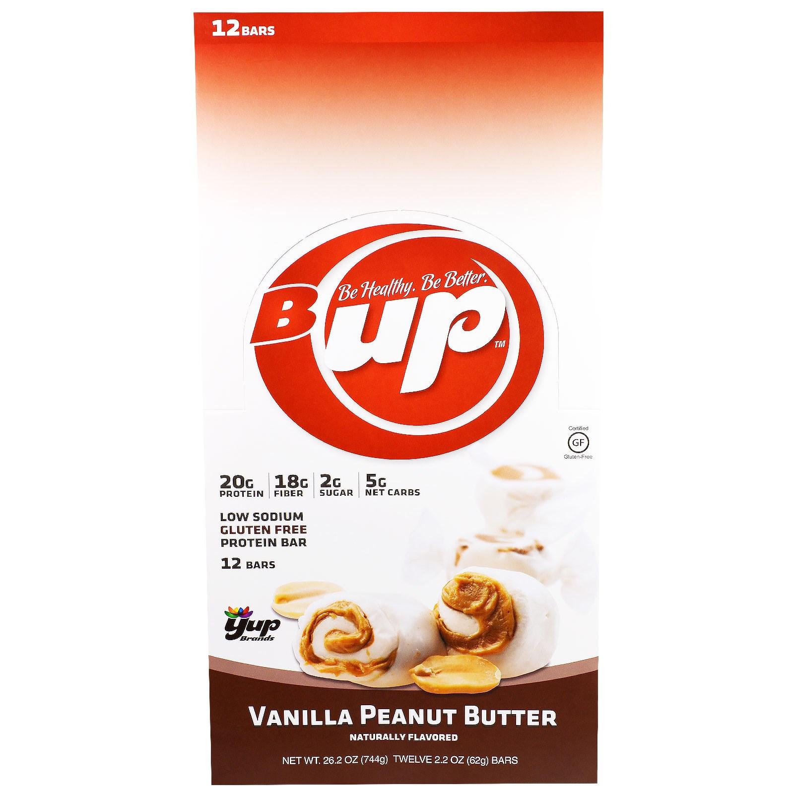 YUP, B Up, протеиновый батончик , ваниль и арахисовое масло, 12 батончиков , 2.2 унции(62 г) каждый