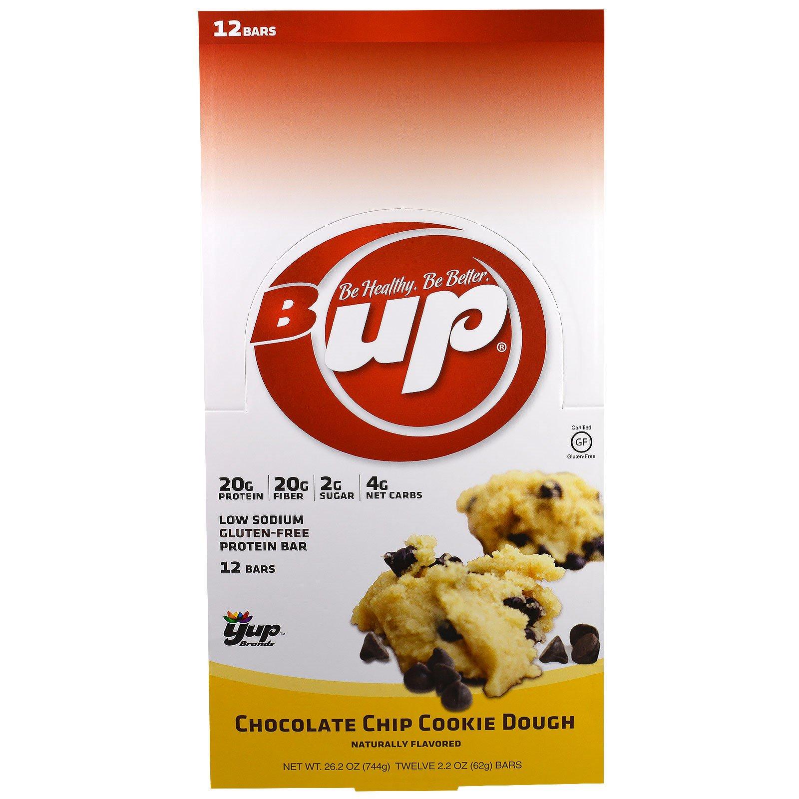 YUP, B Up протеиновый батончик, тесто для печенья с кусочками шоколада и , 12 батончиков , 2.2 унции(62 г) каждый
