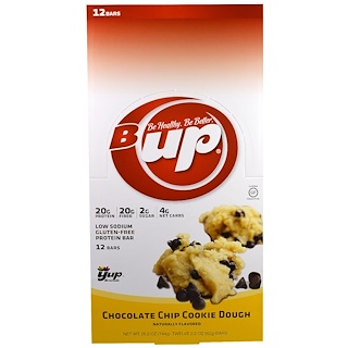 YUP, B Up Protein Bar, Chocolate Chip Cookie Dough, 12 Bars, 2.2 oz (62 g) Each