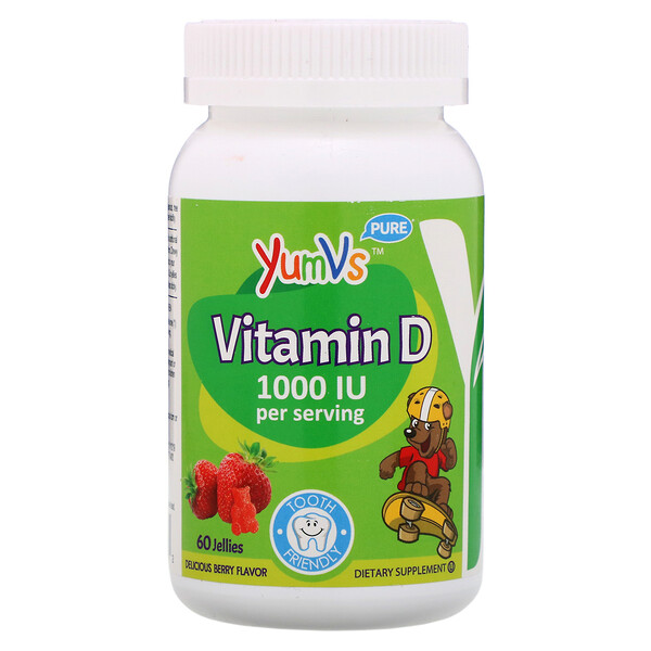 YumV's, Pure Vitamin D, Delicious Raspberry Flavor, 1,000 IU, 60 Jelly Bears