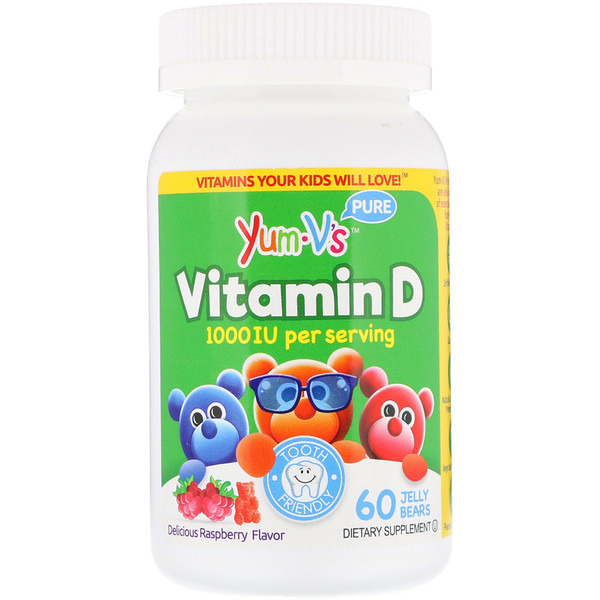 Yum-V's, Vitamin D, Delicious Raspberry Flavor, 1,000 IU, 60 Jelly Bears