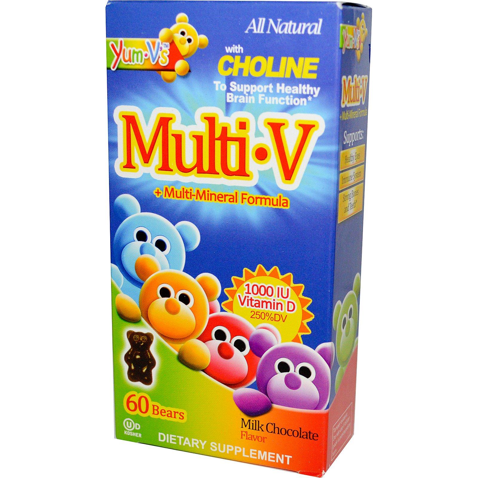Yum-V's, Мульти·V + мульти-минеральная формула, вкус молочного шоколада, 60 желатиновых мишек