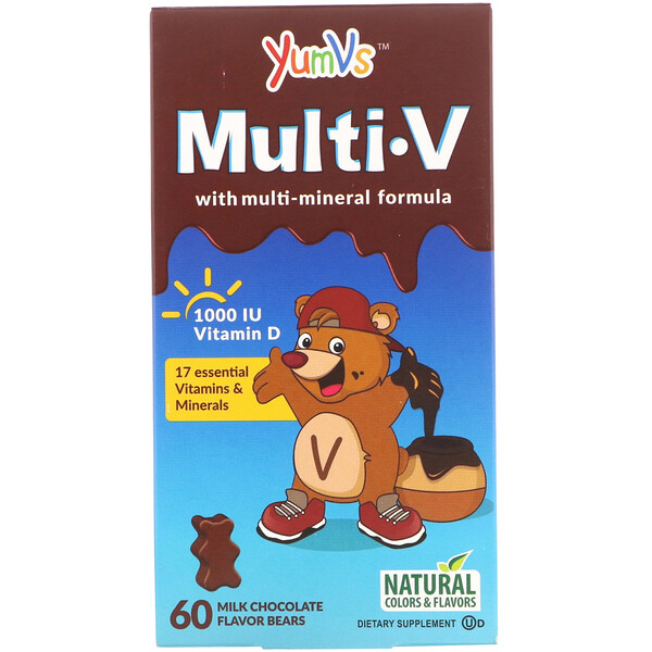 Multi V with Multi-Mineral Formula, Milk Chocolate Flavor, 60 Bears