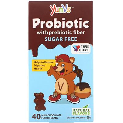 Пробиотик с пребиотической клетчаткой, молочный шоколад, без сахара, 40мишек