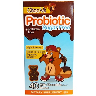 Yum-V's, Probiotic + Prebiotic Fiber, Sugar-Free Milk Chocolate, 40 Bears