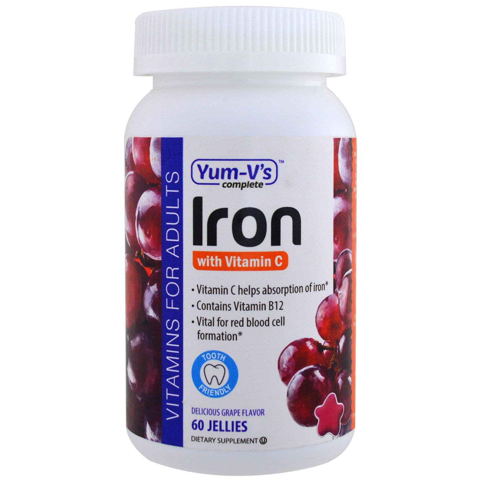 Yum-V's, Железо, с витамином C, виноградный вкус, 60 желейных конфет