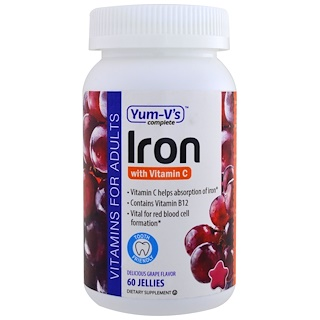 Yum-V's, Iron, with Vitamin C, Grape Flavor, 60 Jellies