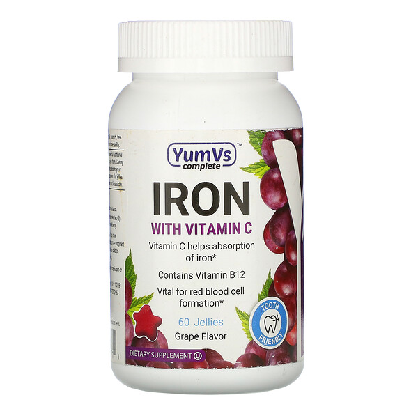 Iron with Vitamin C, Grape Flavor, 60 Jellies