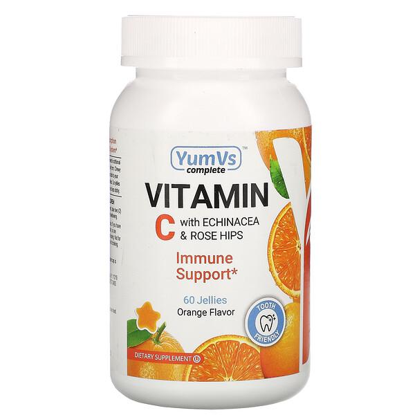 YumV's, Vitamin C with Echinacea & Rose Hips, Orange Flavor, 60 Jellies