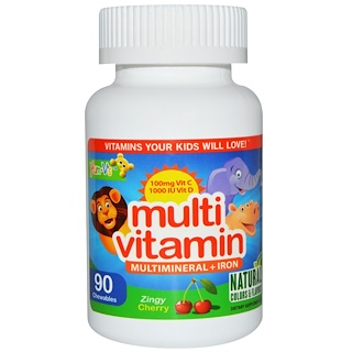 Yum-V's, Multi Vitamin, Multimineral + Iron, Zing Cherry, 90 Chewables