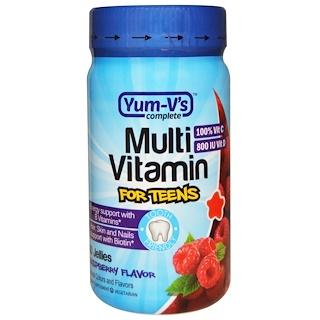 Yum-V's, マルチ ビタミンティーン用、 ラズベリーフレーバー、 60 ゼリー