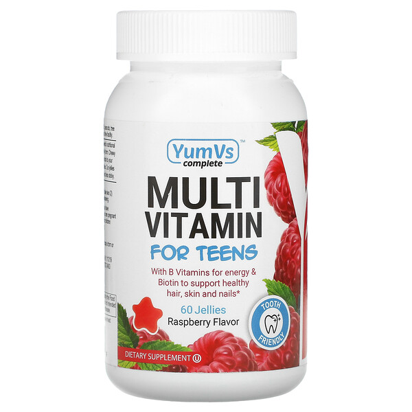 YumV's, Multivitaminas para adolescentes, sabor a frambuesa, 60 vitaminas