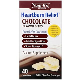 Yum-V's, Pedaços de Sabor Chocolate para Alívio da Azia, Sabor Chocolate Branco, 40 Mastigáveis