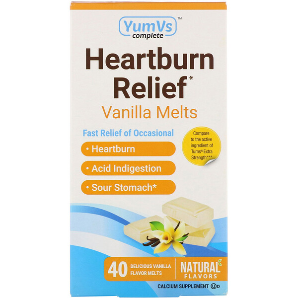 YumV's, Heartburn Relief, Vanilla Melts, 40 Melts