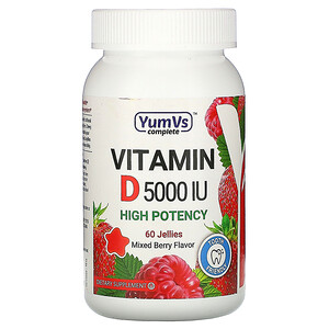 YumV's, Vitamin D, Mixed Berry Flavor, 5,000 IU, 60 Jellies
