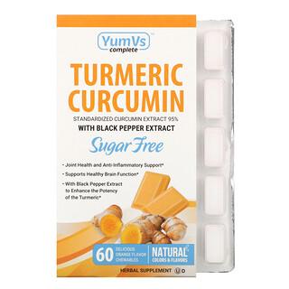 YumV's, Turmeric Curcumin with Black Pepper Extract, Delicious Orange Flavor, Sugar Free, 60 Chewables