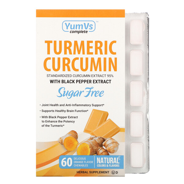 YumV's, Turmeric Curcumin, Orange Falvor, 60 Chewables