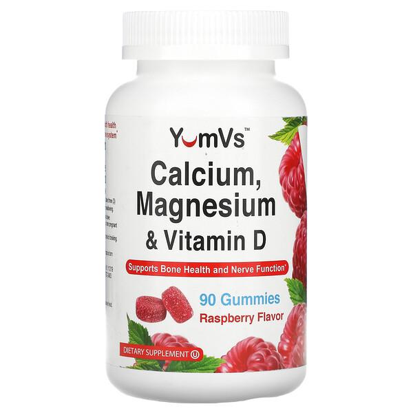 Calcium, Magnesium & Vitamin D, Raspberry Flavor, 90 Gummies