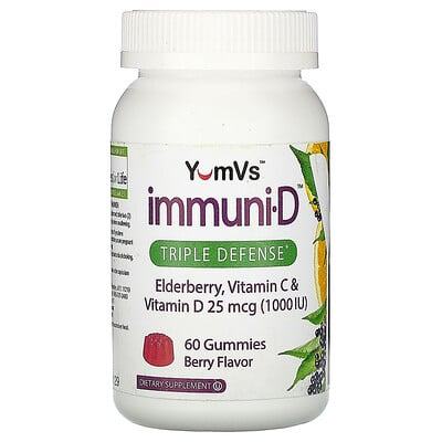 Купить YumV's Elderberry, Vitamin C & Vitamin D, Triple Defense, Berry Flavor, 25 mcg (1, 000 IU), 60 Gummies