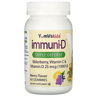 YumV's, Elderberry, Vitamin C & Vitamin D, Triple Defense, Berry Flavor, 25 mcg (1,000 IU), 60 Gummies