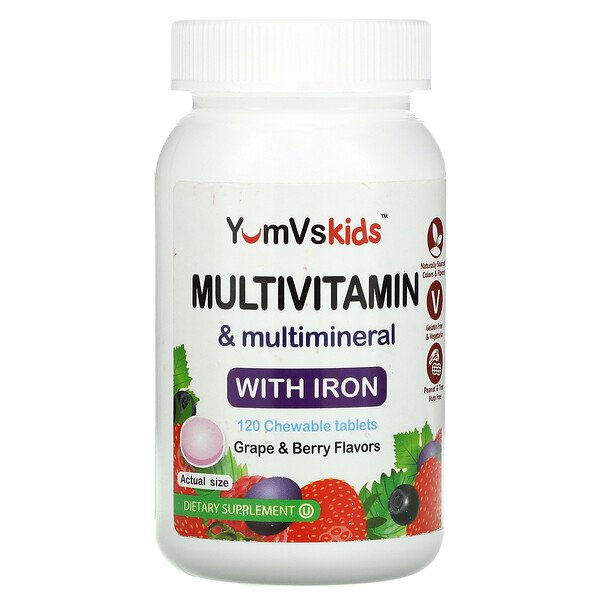 YumV's, Multivitamin & Multimineral With Iron, Grape & Berry, 120 Chewable Tablets