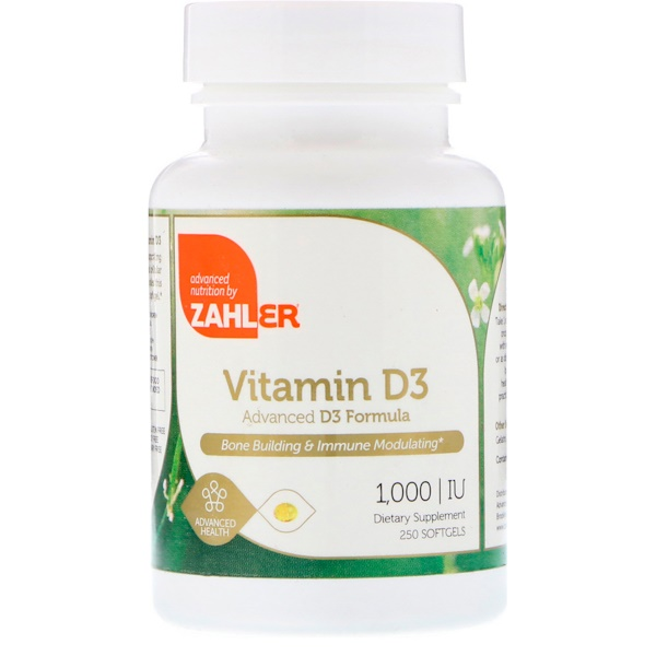 Zahler, فيتامين د3، تركيبة متقدمة من د3، 1000 وحدة دولية، 250 كبسولة هلامية