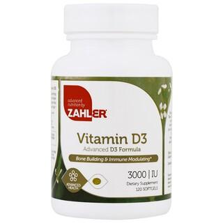 Zahler, Vitamina D3, fórmula D3 avançada, 3000 UI, 120 cápsulas de gelatina mole